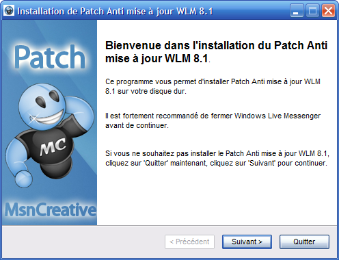 patch anti mise a jour msn messenger 8.5