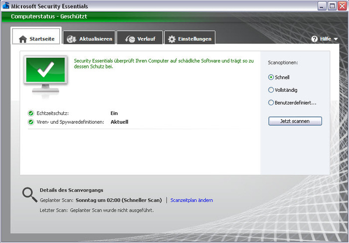 Screenshot 1 of Microsoft Security Essentials