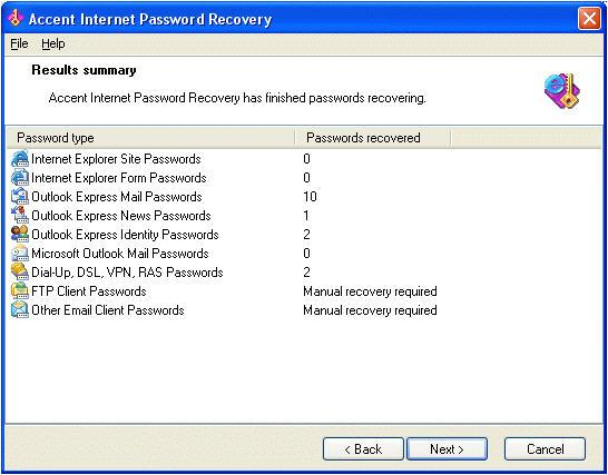 Screenshot 1 of Accent Internet Password Recovery