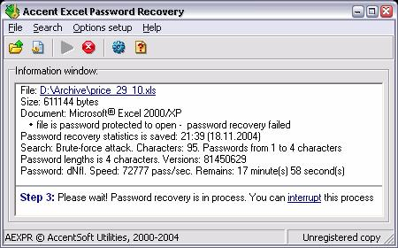 Screenshot 1 of Accent Office Password Recovery