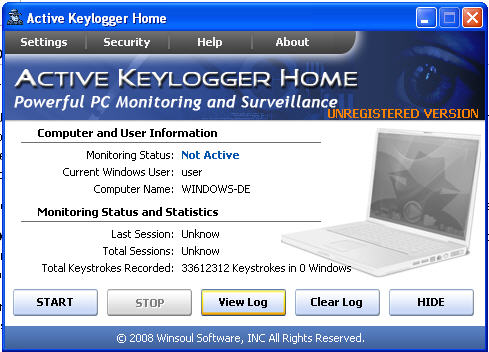Screenshot 1 of Active Keylogger Home