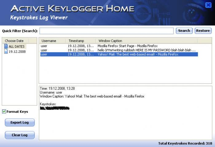 Screenshot 2 of Active Keylogger Home