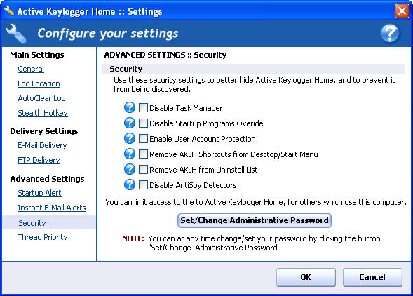 Screenshot 3 of Active Keylogger Home
