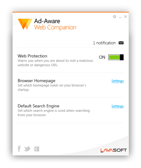 Screenshot 1 of Ad-Aware Web Companion