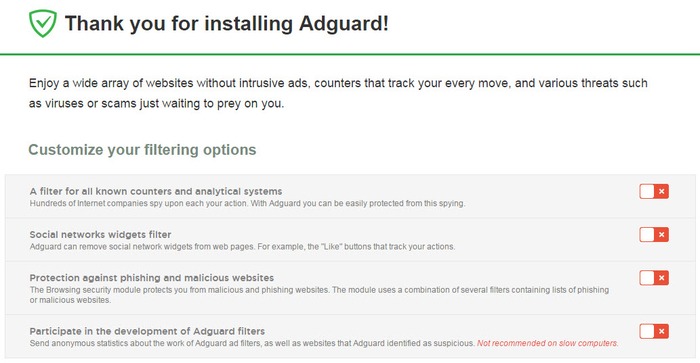 Screenshot 1 of Adguard AdBlocker