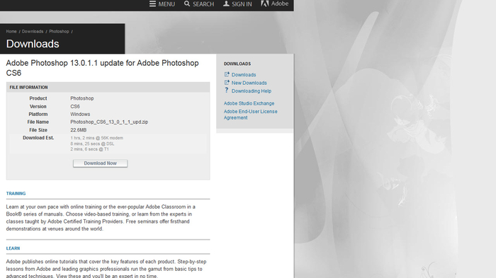 Screenshot 1 of Adobe Photoshop CS6 update