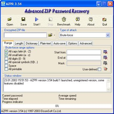 Screenshot 1 of Advanced ZIP Password Recovery