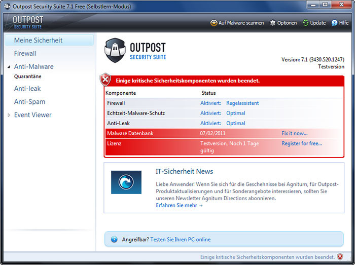 Screenshot 17 of Agnitum Outpost Security Suite