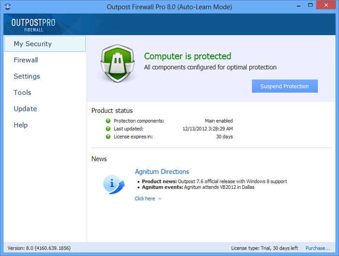 Screenshot 1 of Agnitum Outpost Firewall Pro (64-bit)
