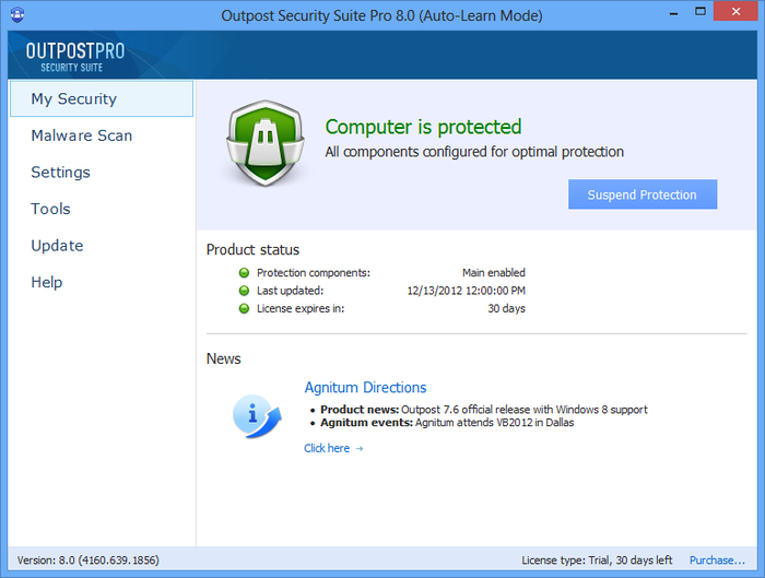 Screenshot 1 of Agnitum Outpost Security Suite Pro (64-bit)