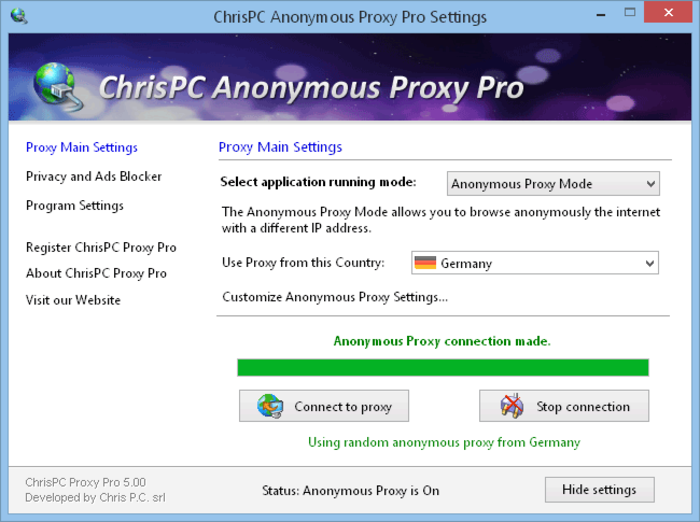 Screenshot 1 of ChrisPC Anonymous Proxy Pro