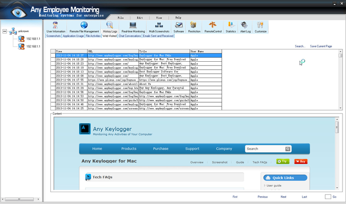 Screenshot 1 of Any Employee Monitoring