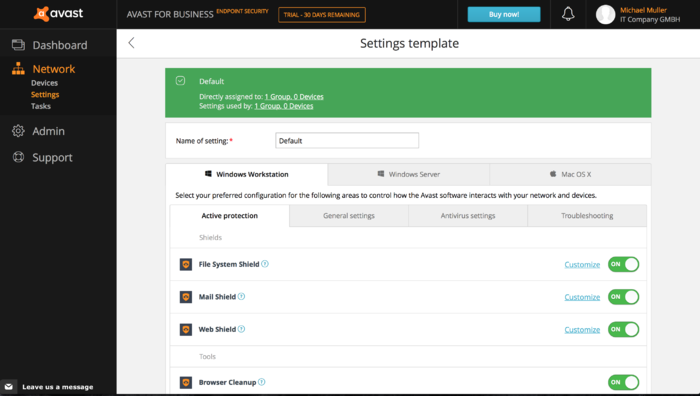 Screenshot 1 of Avast for Business Endpoint Security
