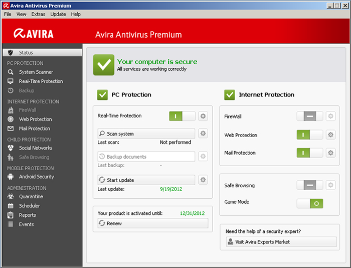 Screenshot 1 of Avira Antivirus Premium