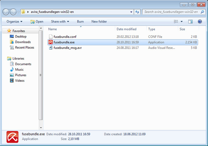 Screenshot 4 of Avira Fusebundle Generator