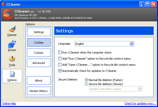 Screenshot 2 of CCleaner Portable