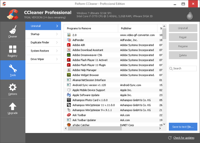 Screenshot 3 of CCleaner Professional