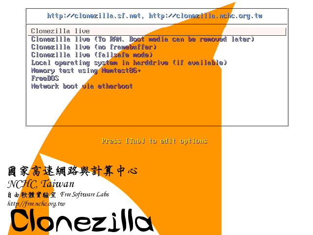 Screenshot 2 of Clonezilla Live