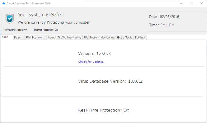 Screenshot 1 of Cloud Antivirus Total Protection 2016