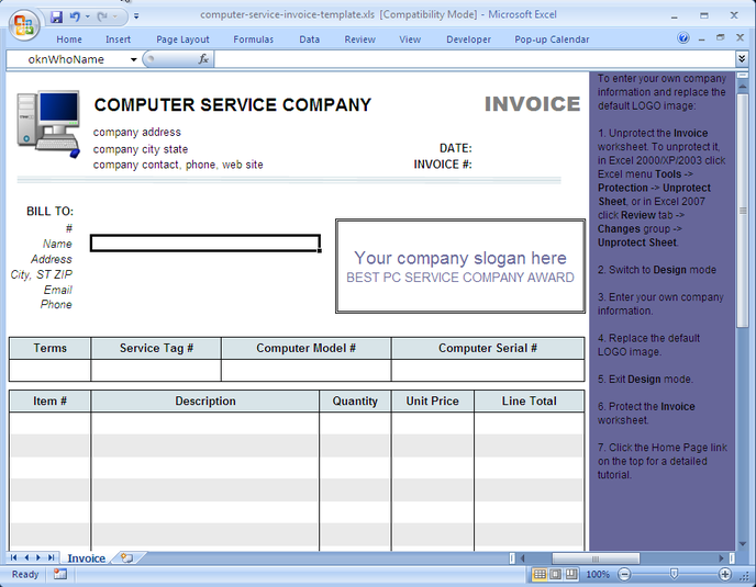 Download Computer Service Invoice Template Free NetworkIcecom - Invoice programs free for service business