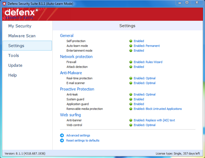 Screenshot 3 of Defenx Internet Security