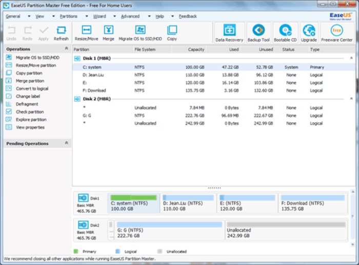 Screenshot 1 of EaseUS Partition Master Free