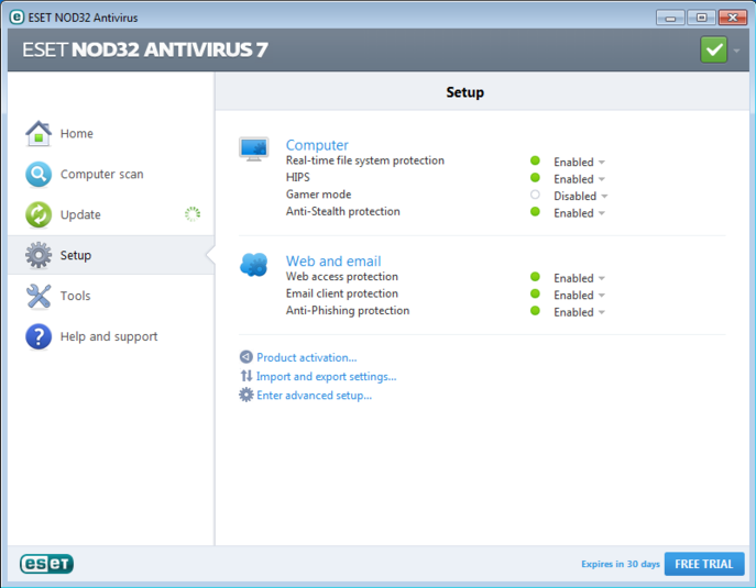 Screenshot 1 of ESET NOD32 Antivirus