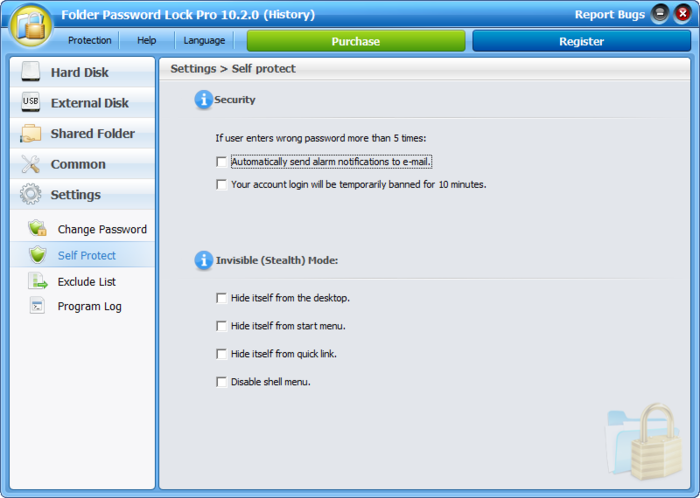 Screenshot 1 of Folder Password Lock Pro