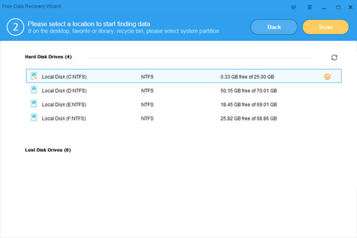 Screenshot 2 of Free Data Recovery Wizard