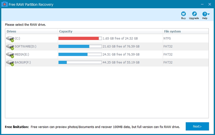 Screenshot 3 of Free RAW Partition Recovery