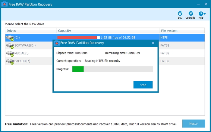 Screenshot 1 of Free RAW Partition Recovery