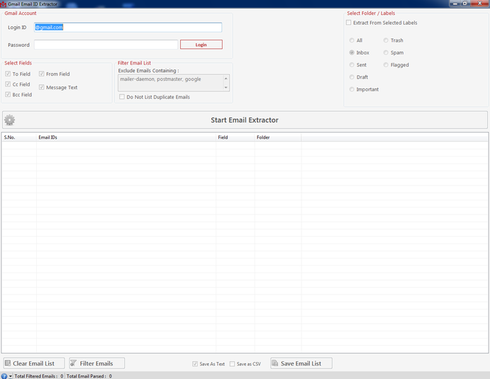 Download Gmail Email ID Extractor free — NetworkIce com