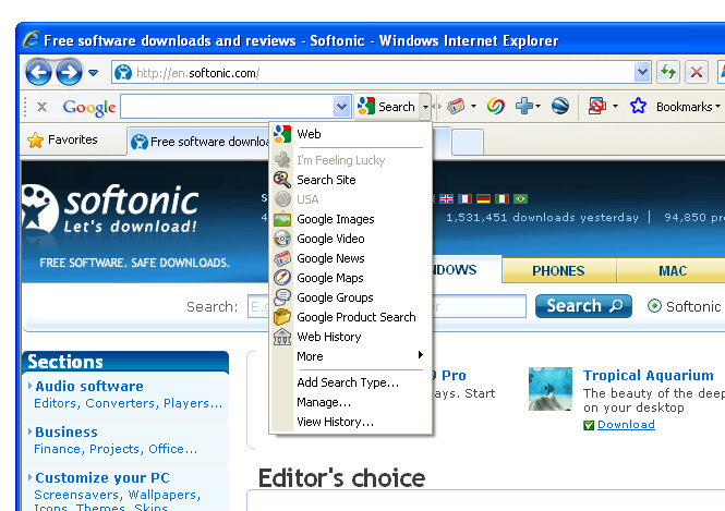 Screenshot 3 of Google Toolbar IE