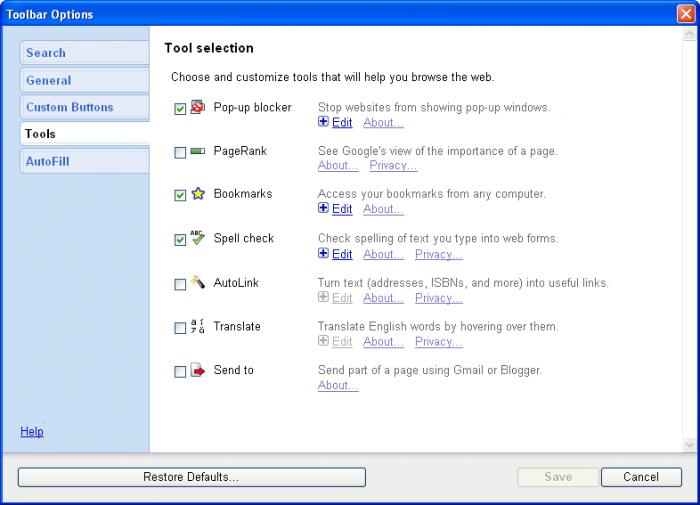 Screenshot 7 of Google Toolbar IE