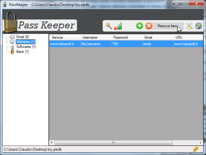 Screenshot 1 of Hekasoft PassKeeper