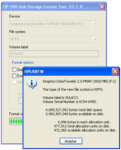 Screenshot 1 of HP USB Disk Storage Format Tool