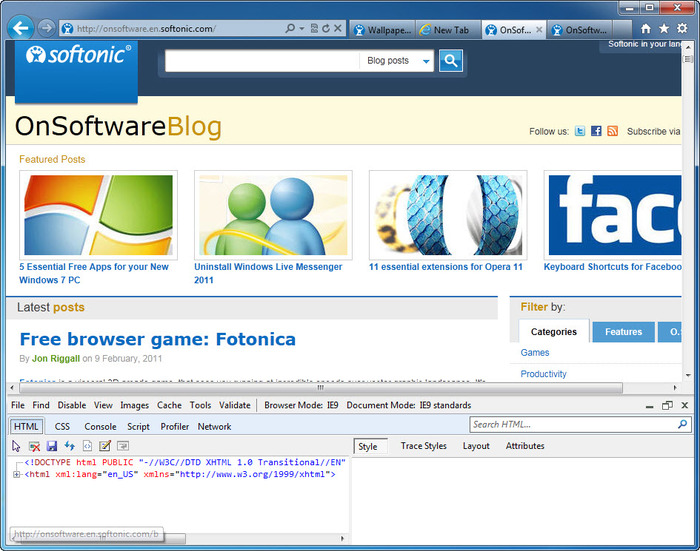 Screenshot 4 of Internet Explorer 9