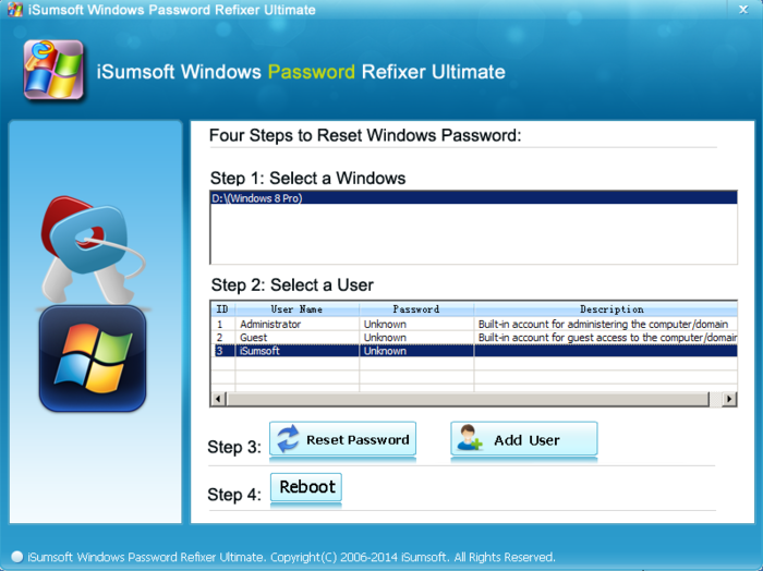 Screenshot 2 of iSumsoft Windows Password Refixer
