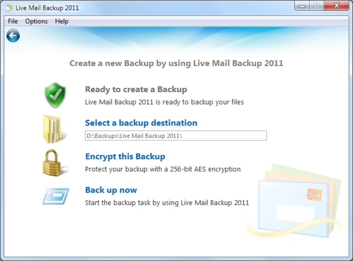 Screenshot 3 of Live Mail Backup 2012