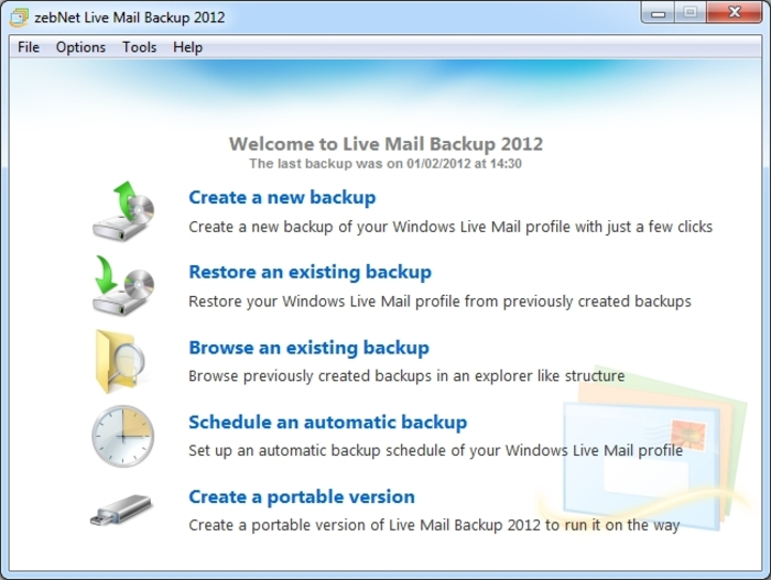 Screenshot 1 of Live Mail Backup 2012
