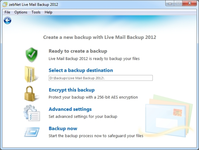 Screenshot 11 of Live Mail Backup 2012
