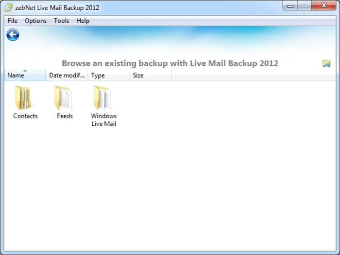 Screenshot 13 of Live Mail Backup 2012