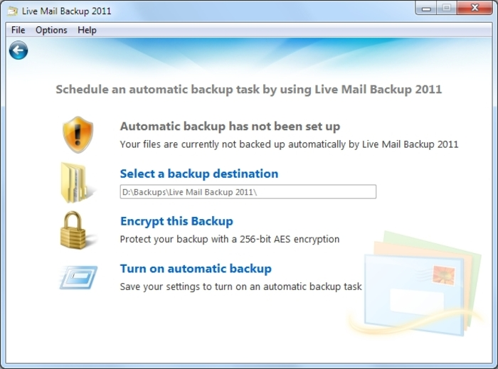 Screenshot 2 of Live Mail Backup 2012