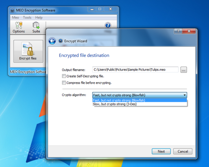 Screenshot 1 of MEO Free Encryption Software