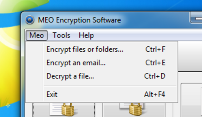 Screenshot 5 of MEO Free Encryption Software