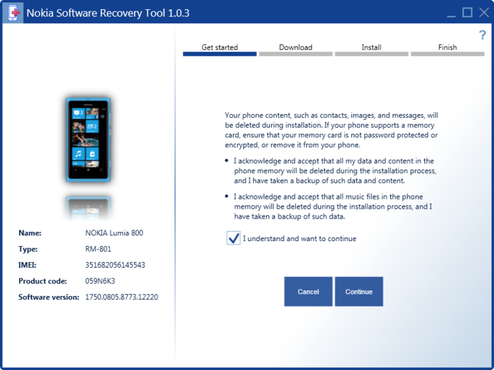 Screenshot 3 of Nokia Software Recovery Tool