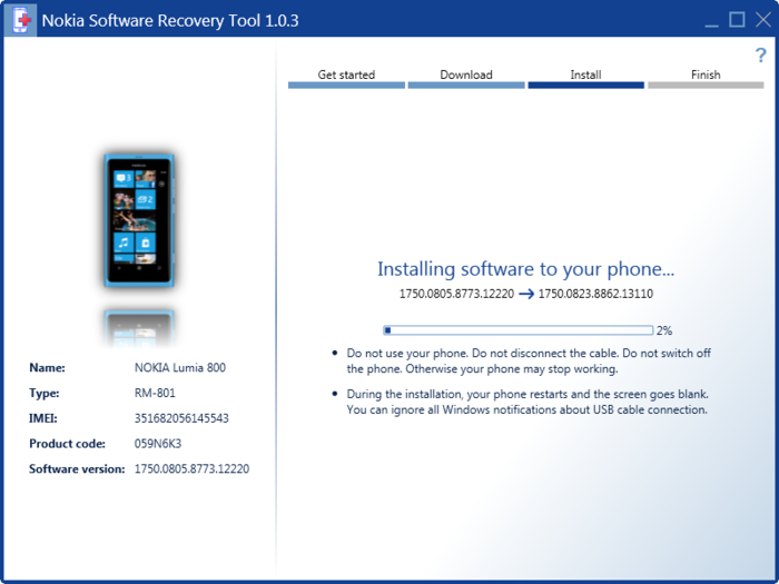 Screenshot 1 of Nokia Software Recovery Tool