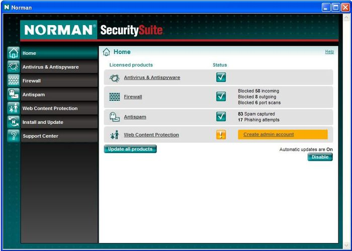 Screenshot 2 of Norman Antivirus & Antispyware