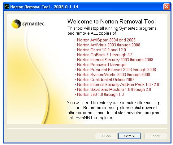 Screenshot 2 of Norton Removal Tool