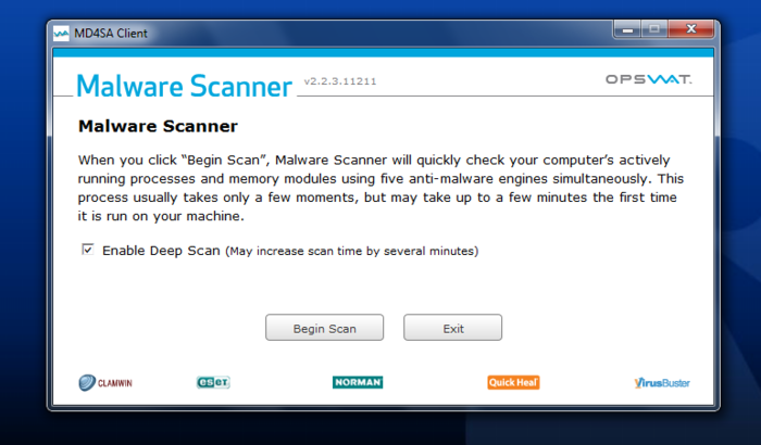 Screenshot 1 of Opswat Malware Scanner